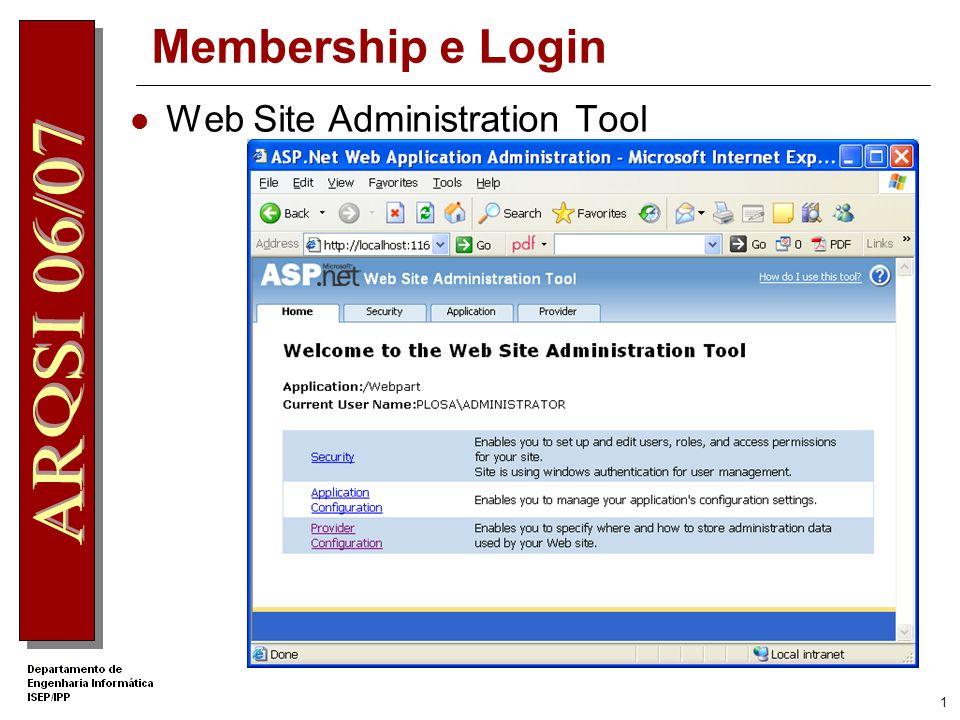 11 Controlos de Login LoginView: Namespace: System.Web.UI.WebControls Sintaxe: [BindableAttribute(false)] [ThemeableAttribute(true)] public class LoginView : Control, INamingContainer Permite associar diferentes displays a diferentes utilizadoresdepois de ser efectuada a autenticação 3 propriedades importantes: AnonymousTemplate: define template a ser visualizado pelos utilizadadores sem login LoggedInTemplate: template ser visualizado pelos utilizadores que não pertecem a nenhum Role groups e que tenham efectuado login RoleGroups: para definir os templates a ser visualizados pelos utilizadores que tenham efectuado login pertecentes a determinados grupos