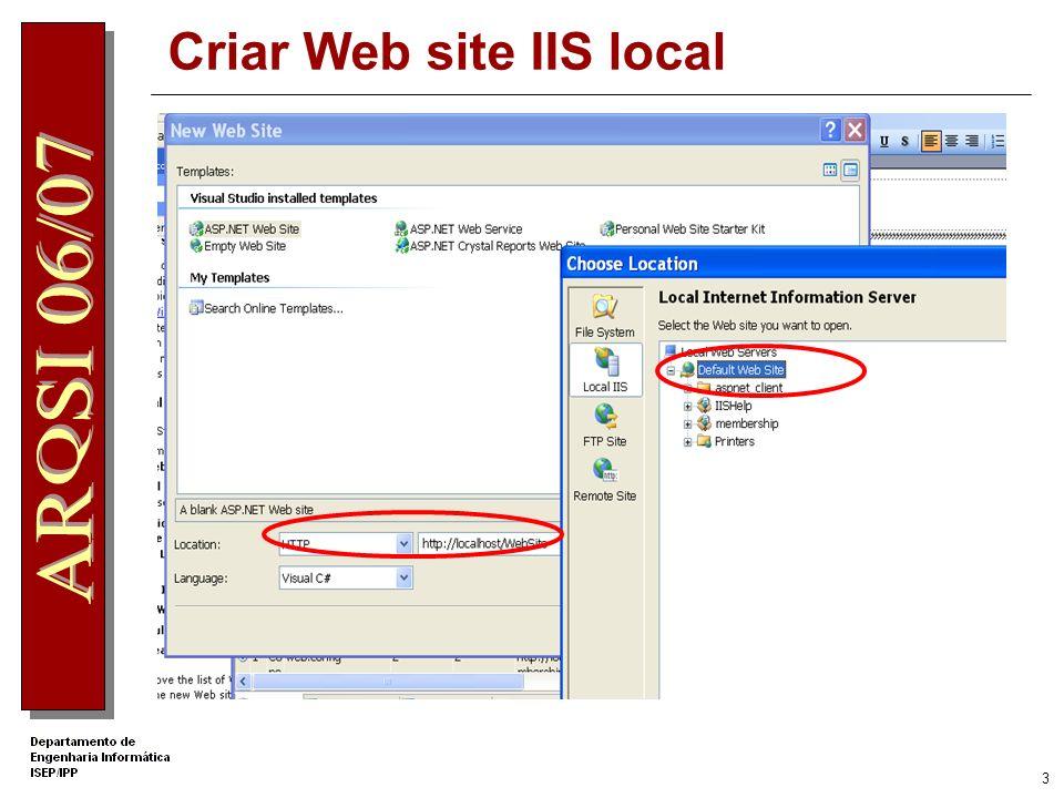 3 Criar Web site IIS local