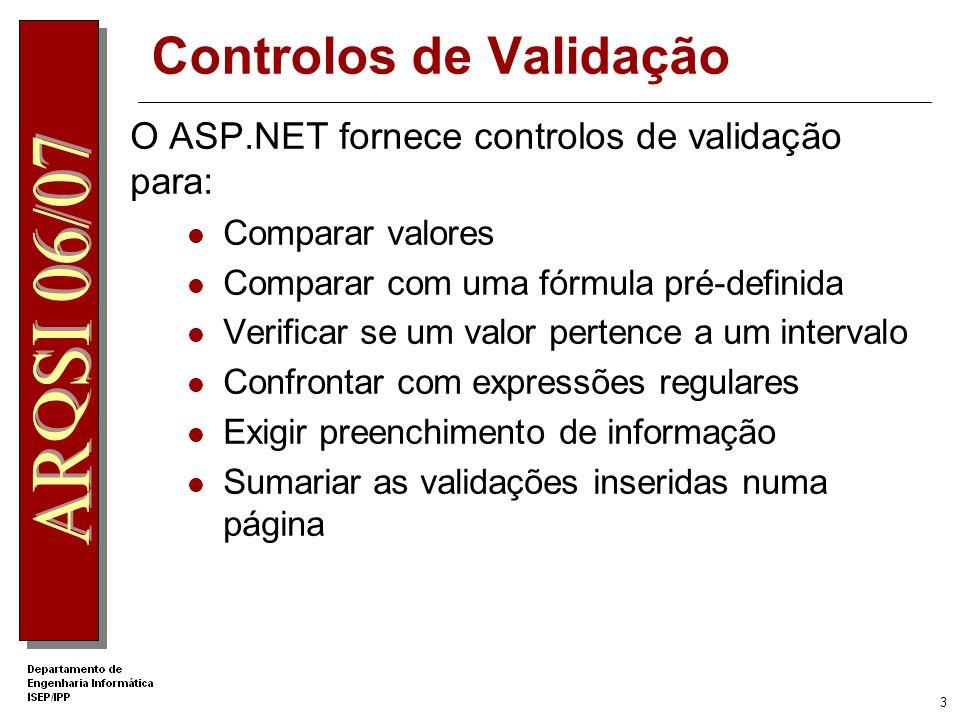 2 Validação no Cliente e no Servidor ASP.NET cria processos de validação no cliente e no servidor Validação no Cliente Dependente do browser Resposta imediata Reduz número de pedidos ao servidor Validação no servidor Repete todas as validações efectuadas no cliente Permite utilizar recursos externos (p.e.