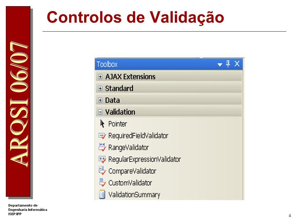 3 Controlos de Validação O ASP.NET fornece controlos de validação para: Comparar valores Comparar com uma fórmula pré-definida Verificar se um valor pertence a um intervalo Confrontar com expressões regulares Exigir preenchimento de informação Sumariar as validações inseridas numa página