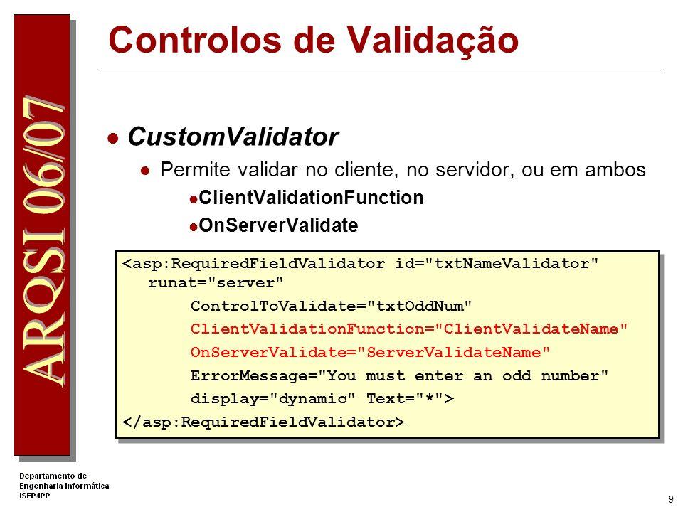 8 Controlos de Validação RegularExpressionValidator Permite confrontar valores com expressões regulares O VS.NET já inclui algumas expressões regulares (p.e: emails) <asp:RegularExpressionValidator … ControlToValidate=Email … ValidationExpression= \w+([-+.]\w+)*@\w+([-.]\w+)*\.\w+([-.]\w+)* >* <asp:RegularExpressionValidator … ControlToValidate=Email … ValidationExpression= \w+([-+.]\w+)*@\w+([-.]\w+)*\.\w+([-.]\w+)* >*