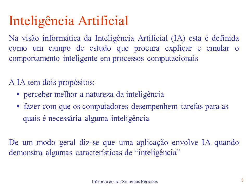 Introdução aos Sistemas Periciais 1 Inteligência Artificial Na visão informática da Inteligência Artificial (IA) esta é definida como um campo de estu