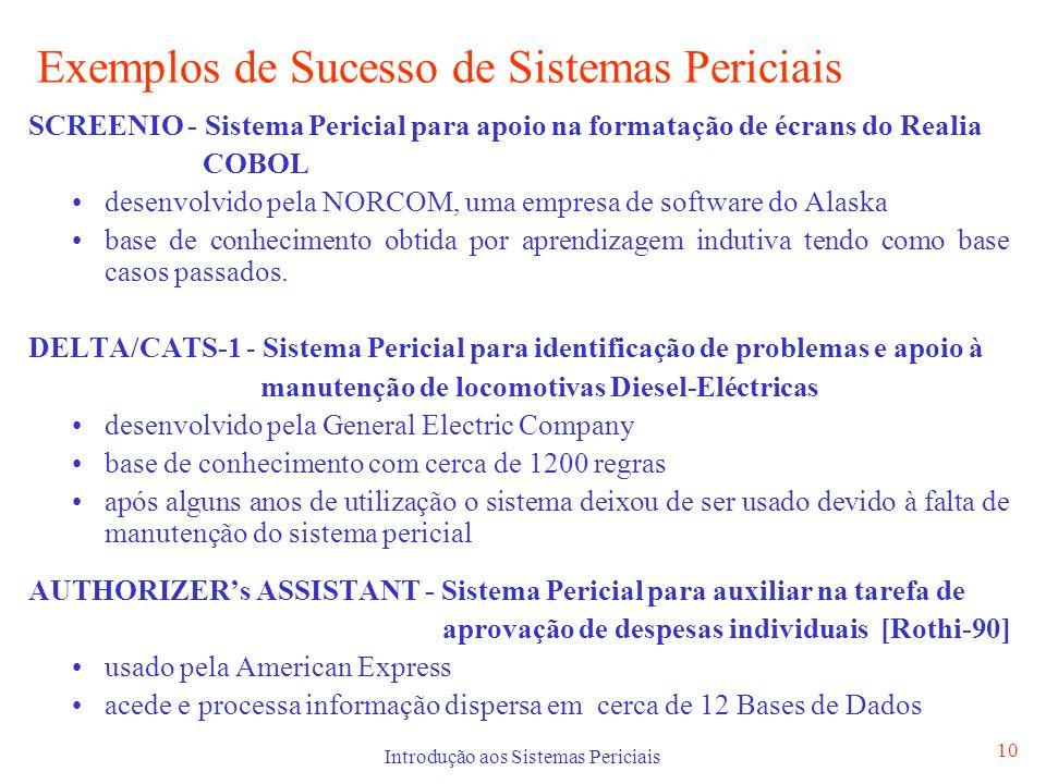 Introdução aos Sistemas Periciais 10 Exemplos de Sucesso de Sistemas Periciais SCREENIO - Sistema Pericial para apoio na formatação de écrans do Reali