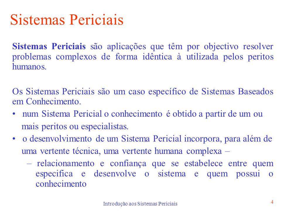 Introdução aos Sistemas Periciais 4 Sistemas Periciais Sistemas Periciais são aplicações que têm por objectivo resolver problemas complexos de forma i