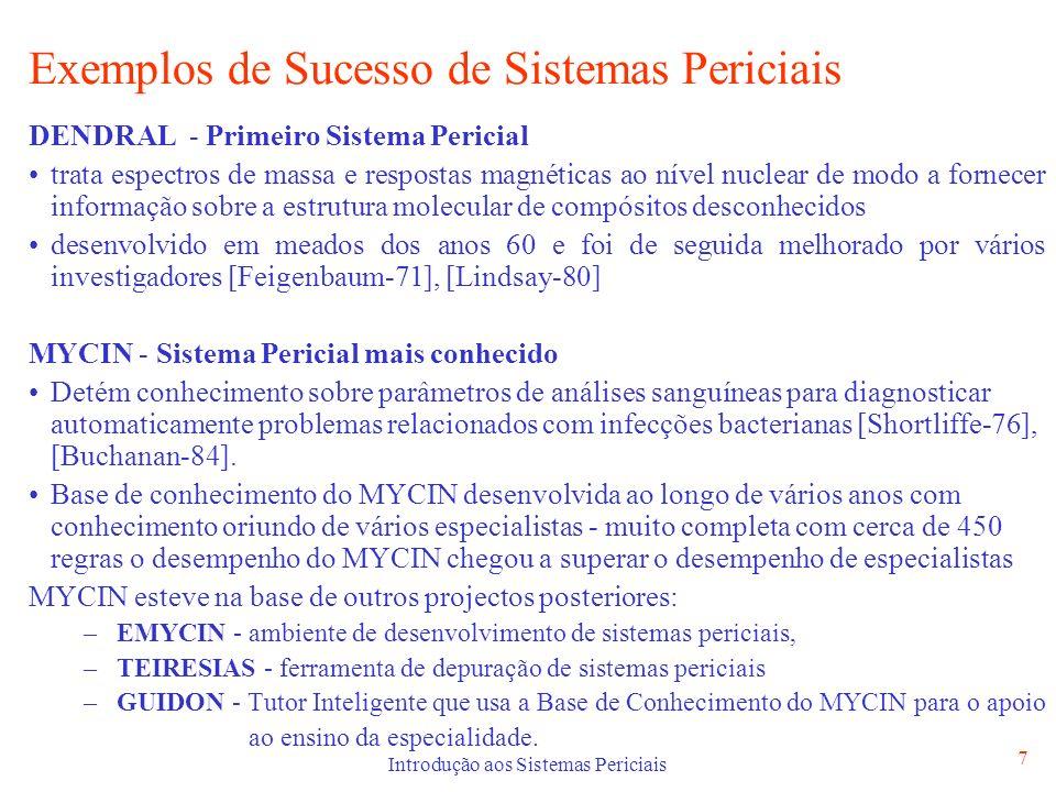 Introdução aos Sistemas Periciais 7 Exemplos de Sucesso de Sistemas Periciais DENDRAL - Primeiro Sistema Pericial trata espectros de massa e respostas