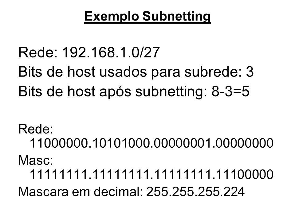 Exemplo Subnetting Rede: 192.168.1.0/27 Bits de host usados para subrede: 3 Bits de host após subnetting: 8-3=5 Rede: 11000000.10101000.00000001.00000