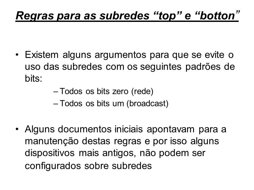 Regras para as subredes top e botton Existem alguns argumentos para que se evite o uso das subredes com os seguintes padrões de bits: –Todos os bits z
