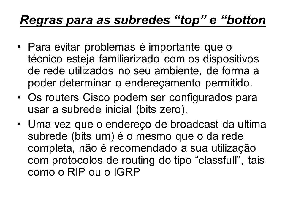 Regras para as subredes top e botton Para evitar problemas é importante que o técnico esteja familiarizado com os dispositivos de rede utilizados no s