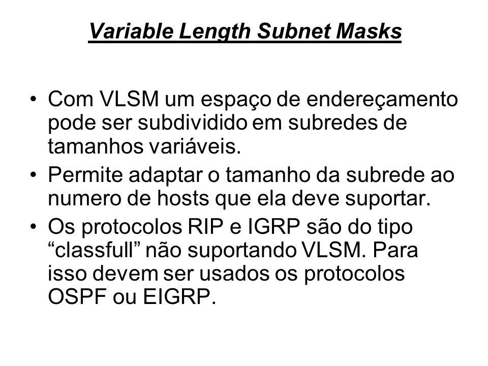 Variable Length Subnet Masks Com VLSM um espaço de endereçamento pode ser subdividido em subredes de tamanhos variáveis. Permite adaptar o tamanho da