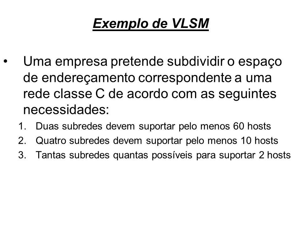 Exemplo de VLSM Uma empresa pretende subdividir o espaço de endereçamento correspondente a uma rede classe C de acordo com as seguintes necessidades: