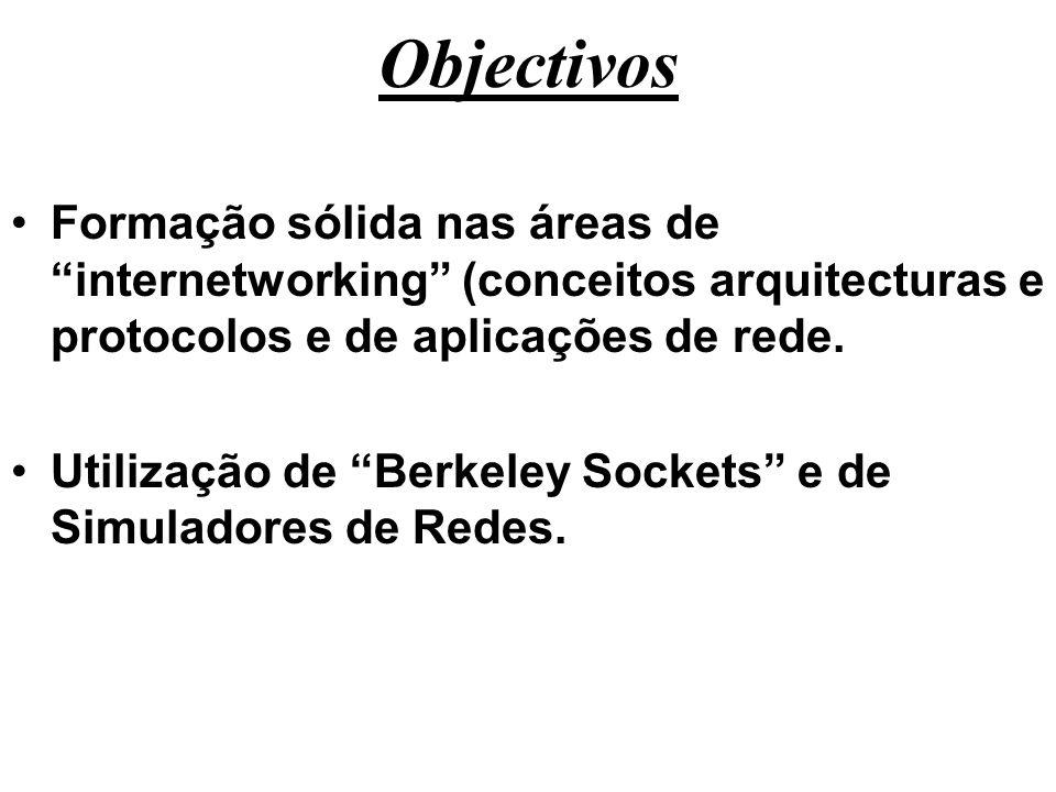 Objectivos Formação sólida nas áreas de internetworking (conceitos arquitecturas e protocolos e de aplicações de rede. Utilização de Berkeley Sockets