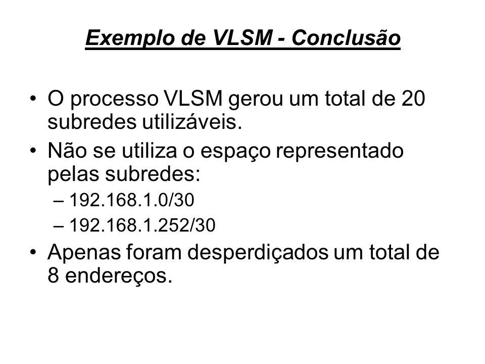 Exemplo de VLSM - Conclusão O processo VLSM gerou um total de 20 subredes utilizáveis. Não se utiliza o espaço representado pelas subredes: –192.168.1