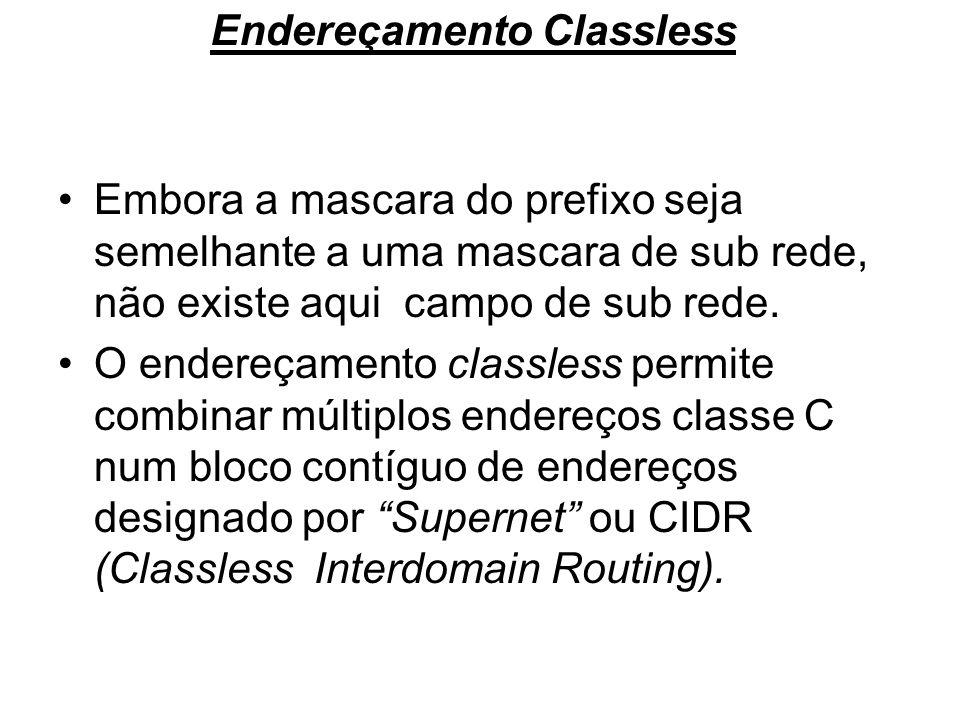 Endereçamento Classless Embora a mascara do prefixo seja semelhante a uma mascara de sub rede, não existe aqui campo de sub rede. O endereçamento clas