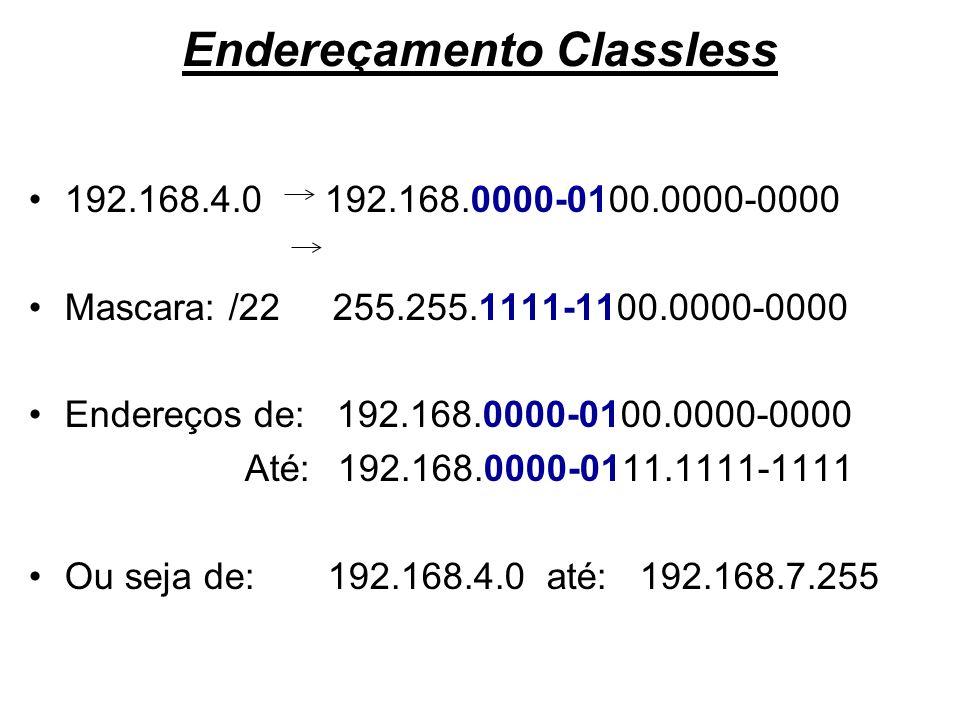 Endereçamento Classless 192.168.4.0 192.168.0000-0100.0000-0000 Mascara: /22 255.255.1111-1100.0000-0000 Endereços de: 192.168.0000-0100.0000-0000 Até