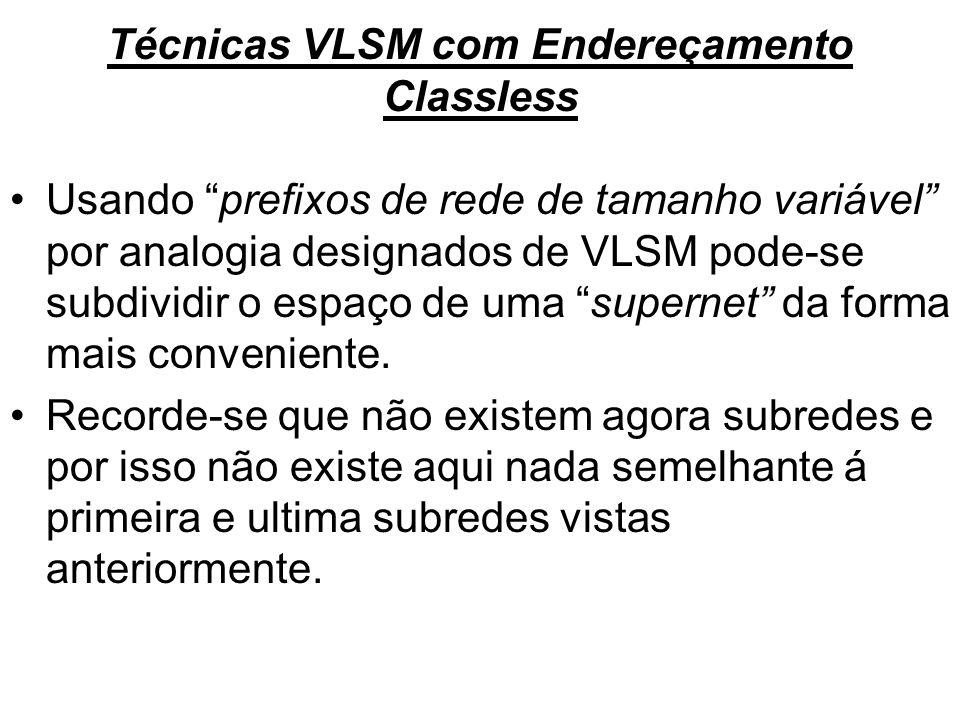 Técnicas VLSM com Endereçamento Classless Usando prefixos de rede de tamanho variável por analogia designados de VLSM pode-se subdividir o espaço de u