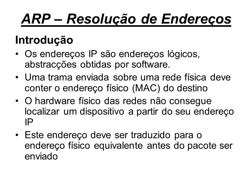 ARP – Resolução de Endereços Introdução Os endereços IP são endereços lógicos, abstracções obtidas por software. Uma trama enviada sobre uma rede físi