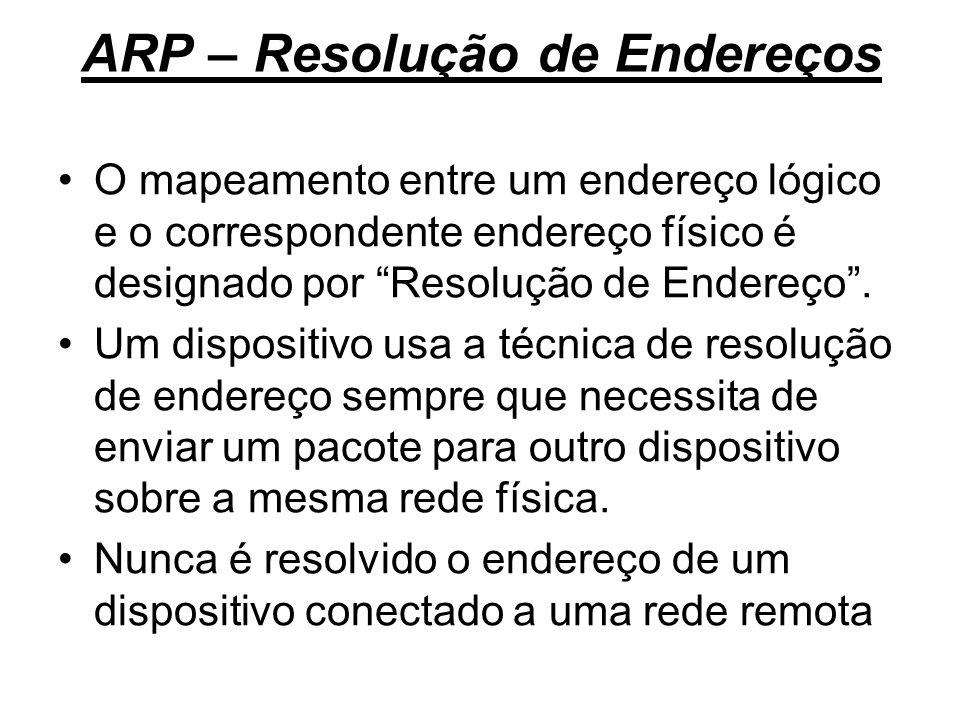 ARP – Resolução de Endereços O mapeamento entre um endereço lógico e o correspondente endereço físico é designado por Resolução de Endereço. Um dispos