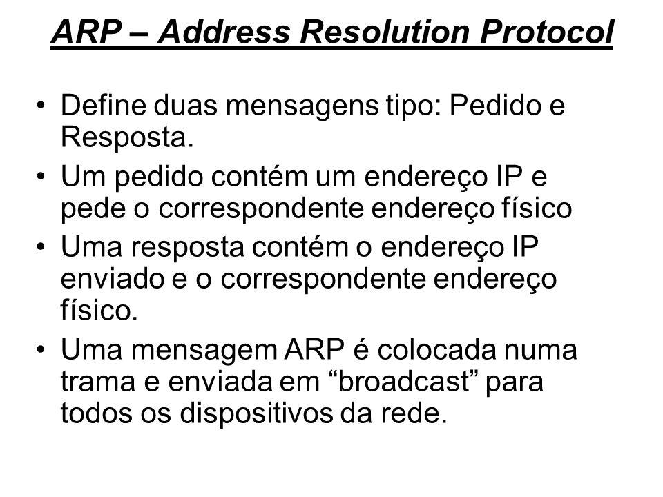 ARP – Address Resolution Protocol Define duas mensagens tipo: Pedido e Resposta. Um pedido contém um endereço IP e pede o correspondente endereço físi