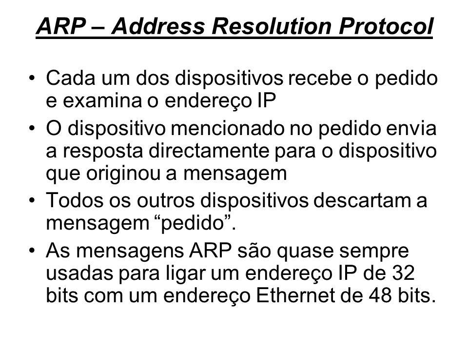 ARP – Address Resolution Protocol Cada um dos dispositivos recebe o pedido e examina o endereço IP O dispositivo mencionado no pedido envia a resposta