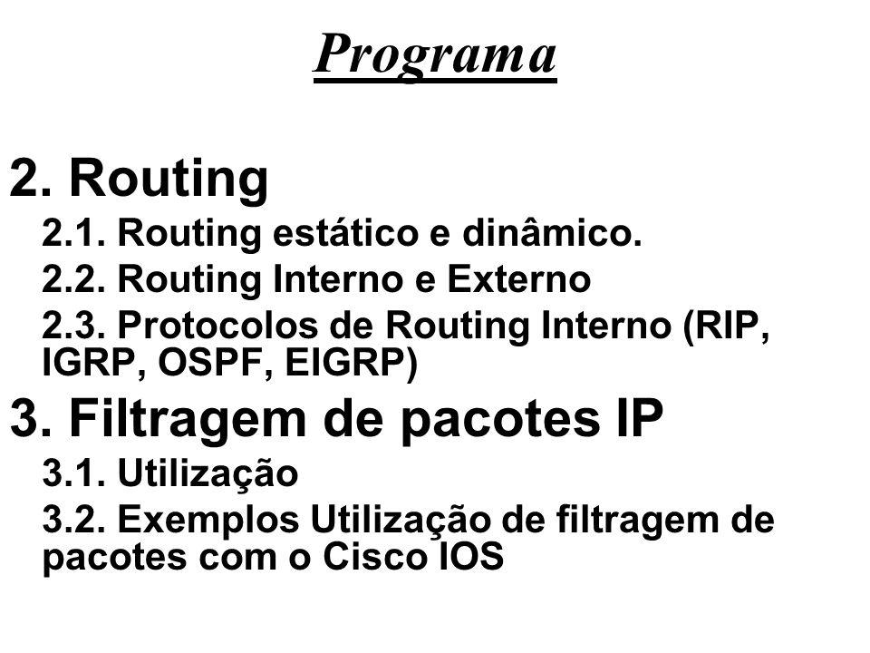 Programa 2. Routing 2.1. Routing estático e dinâmico. 2.2. Routing Interno e Externo 2.3. Protocolos de Routing Interno (RIP, IGRP, OSPF, EIGRP) 3. Fi