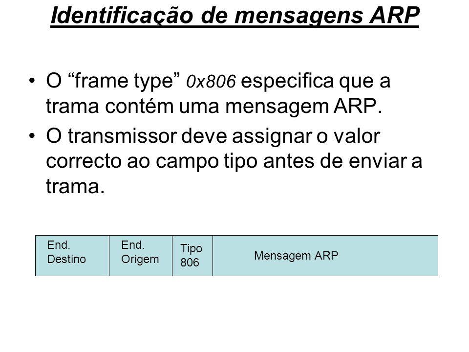 Identificação de mensagens ARP O frame type 0x806 especifica que a trama contém uma mensagem ARP. O transmissor deve assignar o valor correcto ao camp
