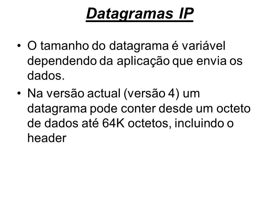 Datagramas IP O tamanho do datagrama é variável dependendo da aplicação que envia os dados. Na versão actual (versão 4) um datagrama pode conter desde