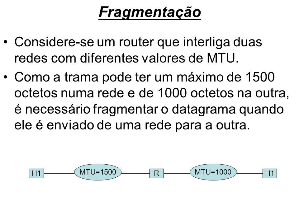Fragmentação Considere-se um router que interliga duas redes com diferentes valores de MTU. Como a trama pode ter um máximo de 1500 octetos numa rede