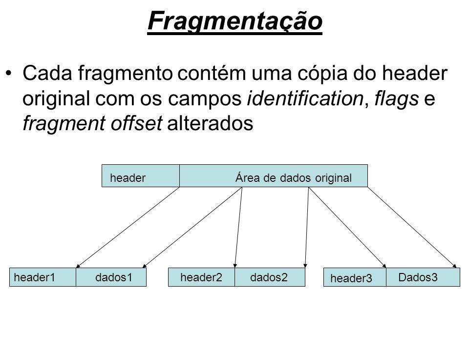 Fragmentação Cada fragmento contém uma cópia do header original com os campos identification, flags e fragment offset alterados headerÁrea de dados or