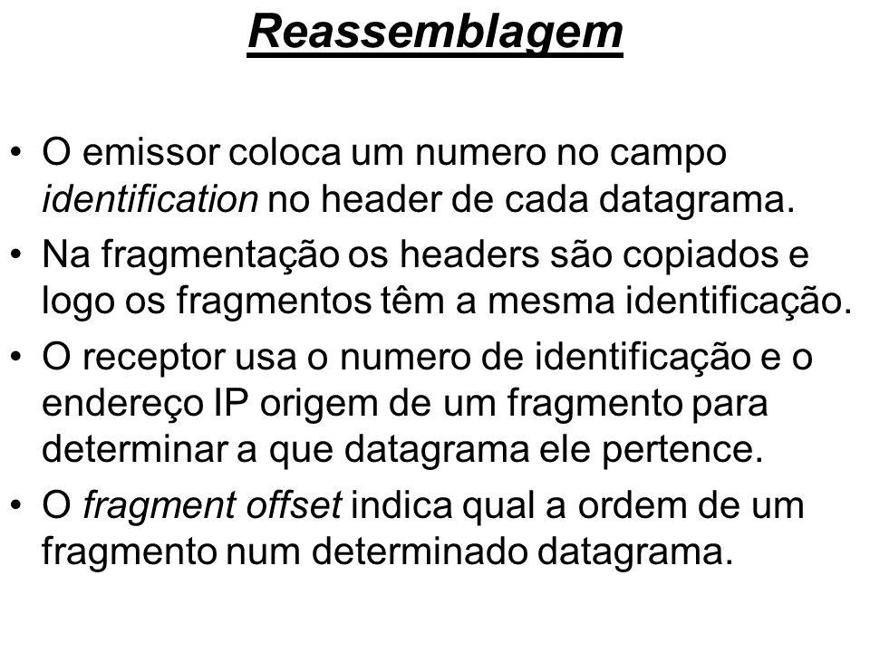 Reassemblagem O emissor coloca um numero no campo identification no header de cada datagrama. Na fragmentação os headers são copiados e logo os fragme