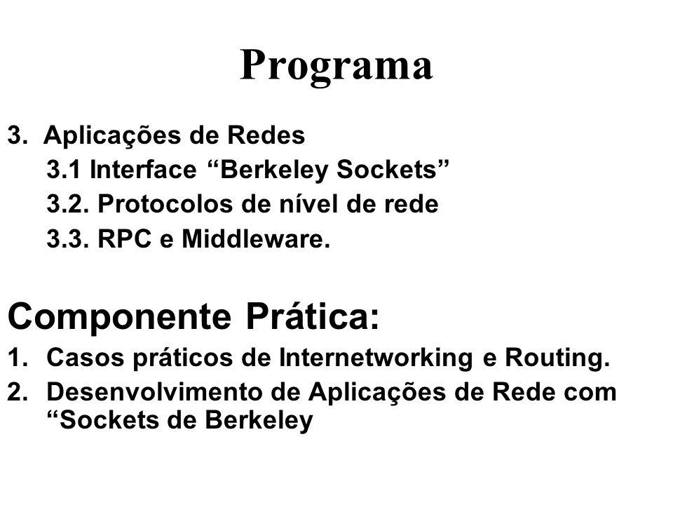Programa 3. Aplicações de Redes 3.1 Interface Berkeley Sockets 3.2. Protocolos de nível de rede 3.3. RPC e Middleware. Componente Prática: 1.Casos prá