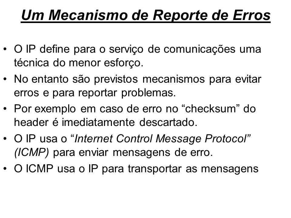 Um Mecanismo de Reporte de Erros O IP define para o serviço de comunicações uma técnica do menor esforço. No entanto são previstos mecanismos para evi