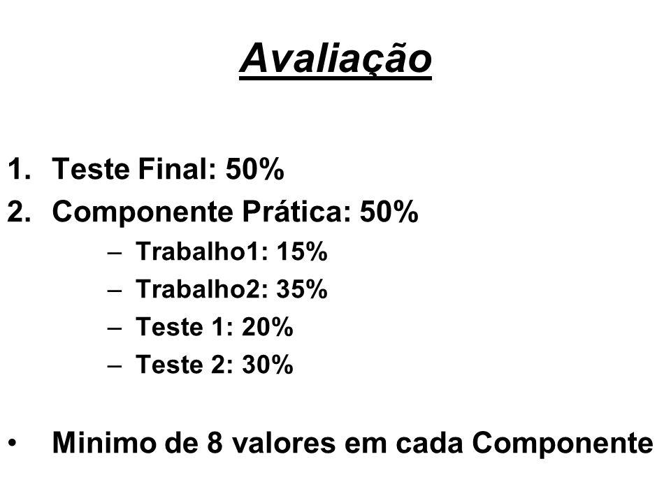 Avaliação 1.Teste Final: 50% 2.Componente Prática: 50% –Trabalho1: 15% –Trabalho2: 35% –Teste 1: 20% –Teste 2: 30% Minimo de 8 valores em cada Compone