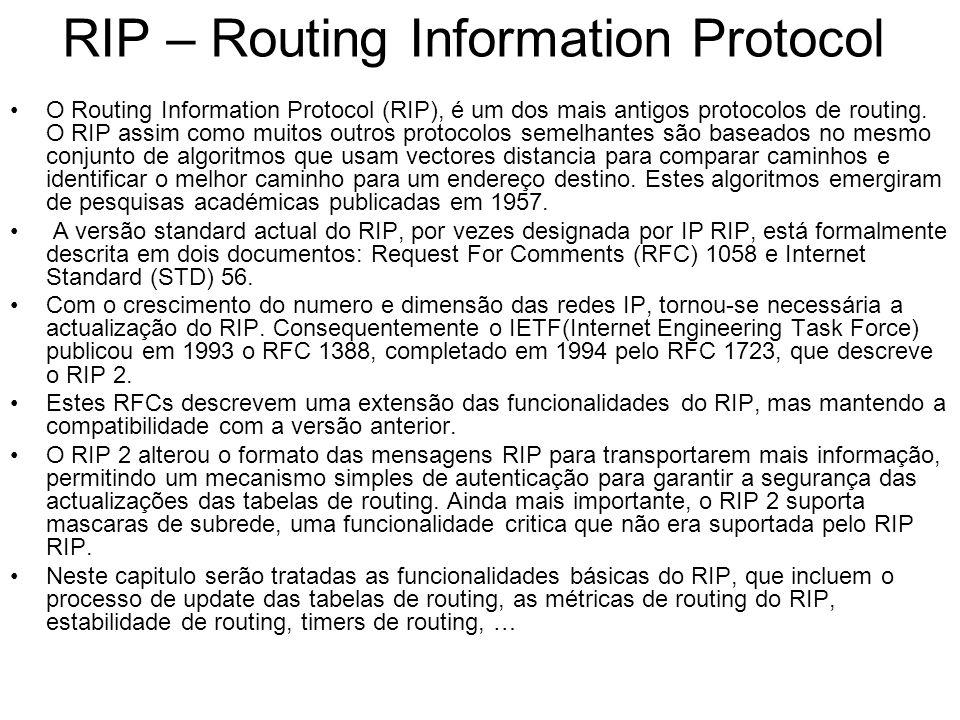 RIP – Routing Information Protocol O Routing Information Protocol (RIP), é um dos mais antigos protocolos de routing. O RIP assim como muitos outros p