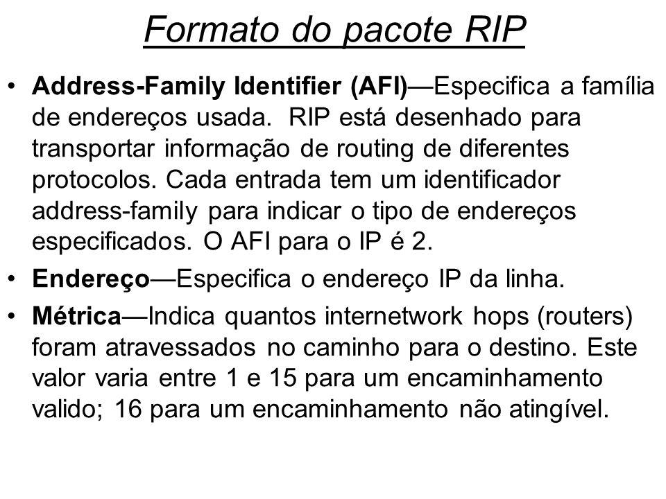 Formato do pacote RIP Address-Family Identifier (AFI)Especifica a família de endereços usada. RIP está desenhado para transportar informação de routin