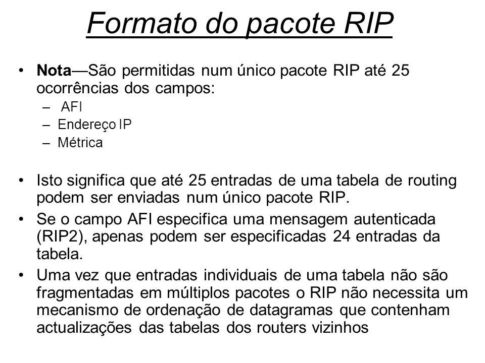 Formato do pacote RIP NotaSão permitidas num único pacote RIP até 25 ocorrências dos campos: – AFI –Endereço IP –Métrica Isto significa que até 25 ent