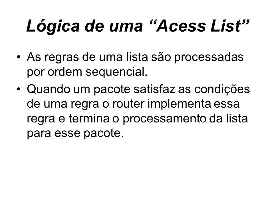 Lógica de uma Acess List As regras de uma lista são processadas por ordem sequencial. Quando um pacote satisfaz as condições de uma regra o router imp