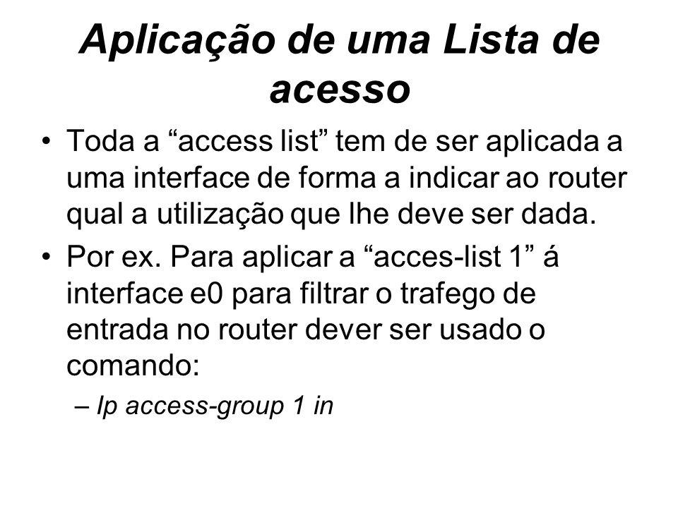 Aplicação de uma Lista de acesso Toda a access list tem de ser aplicada a uma interface de forma a indicar ao router qual a utilização que lhe deve se
