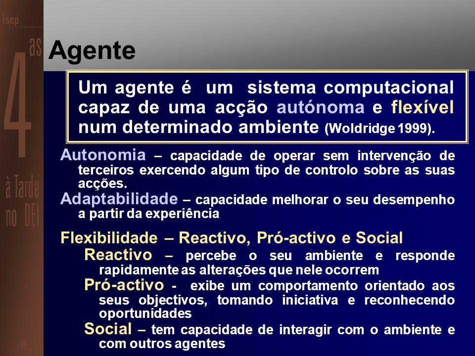 Agente Um agente é uma entidade capaz de perceber o seu ambiente através de sensores e agir sobre esse ambiente através de actuadores (Russel, Norvig 1995) Agentes são componentes persistentes e activas, que percebem, raciocinam, actuam e comunicam (Hunhs, Singh 1997) Agentes são sistemas que habitam em ambientes complexos, sentem o ambiente e actuam de modo autónomo executando o conjunto de tarefas para que foram construídos (Maes 1990).