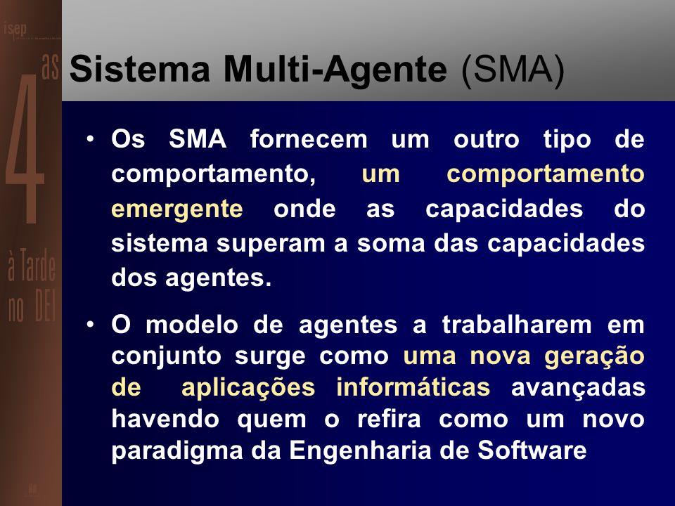Sistema Multi-Agente (SMA) SMA é qualquer sistema composto por vários agentes que interagem na prossecução de um objectivo comum.
