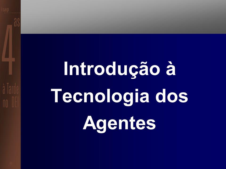 Estrutura da Sessão Introdução à Tecnologia de Agentes A Tecnologia dos Agentes aplicada à Robótica Móvel Possíveis Aplicações de Sistemas Baseados em Agentes Ferramentas de Suporte ao Desenvolvimento