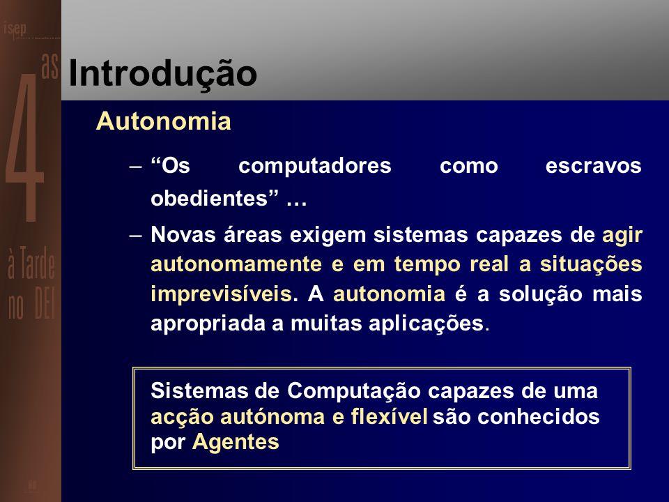 Estrutura da Apresentação Introdução Conceito de Agente Arquitectura de um Agente Sistema Multi-Agente Uma Aplicação Prática no domínio da Robótica Móvel desenvolvida com base na Tecnologia dos Agentes