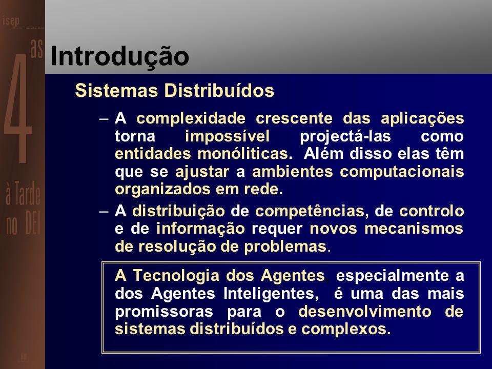 Introdução Autonomia –Os computadores como escravos obedientes … –Novas áreas exigem sistemas capazes de agir autonomamente e em tempo real a situações imprevisíveis.