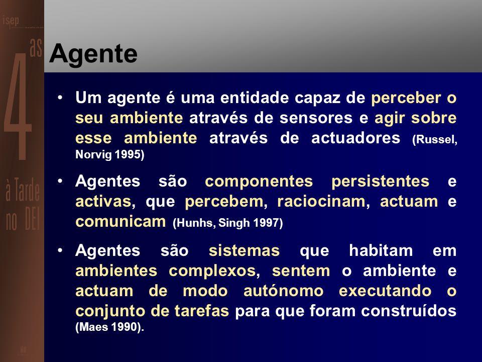 Agentes Inteligentes e a Internet Os agentes são entidades de software que assistem pessoas e agem em seu nome.