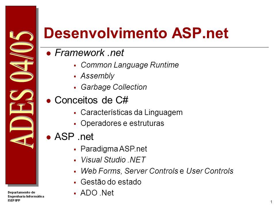 1 Framework.net Common Language Runtime Assembly Garbage Collection Conceitos de C# Características da Linguagem Operadores e estruturas ASP.net Paradigma ASP.net Visual Studio.NET Web Forms, Server Controls e User Controls Gestão do estado ADO.Net