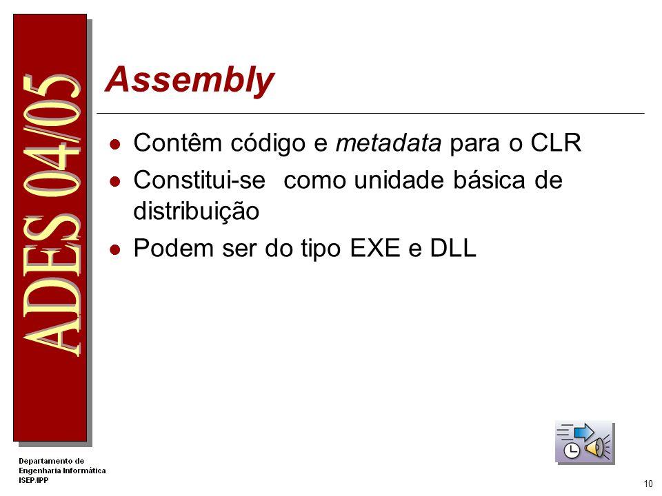 9 Compilação e Execução Class Loader JIT Compiler with optional verification Execution Security Checks EXE/DLL (MSIL and metadata) Class Libraries (MS