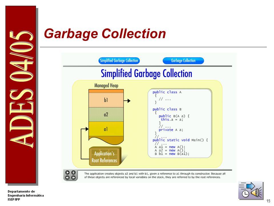 14 Algoritmo Garbage Collection Espera que todas as threads terminem Verifica quais os objectos que estão referenciados. A memória ocupada pelos objec