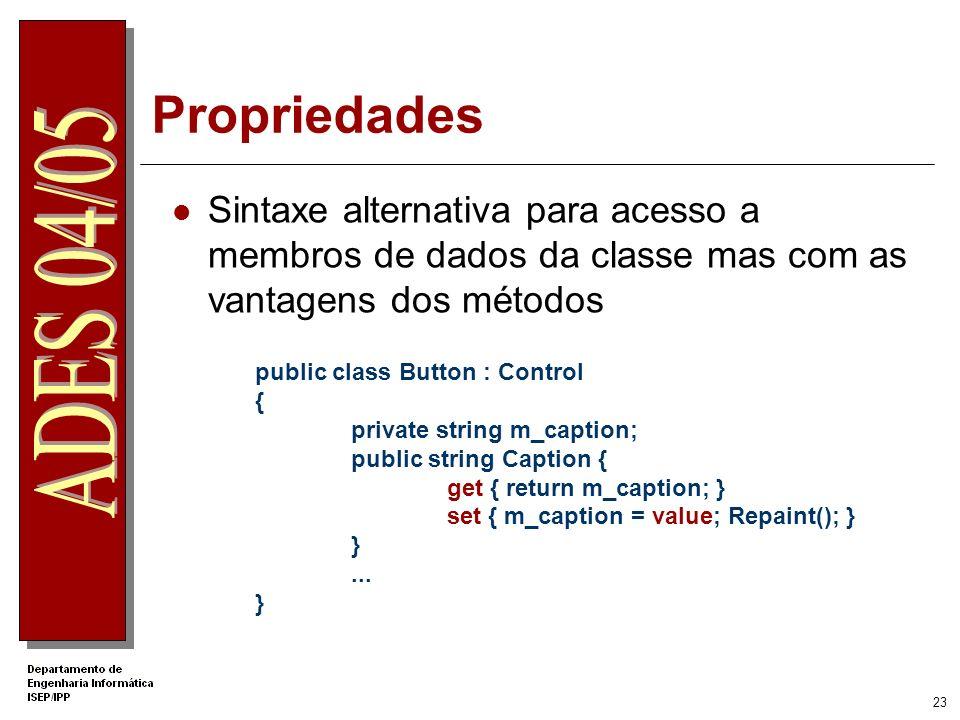 22 Herança Apenas existe herança simples public class MyClassBase {... public void Func() {... } } public class MyClassDeriv : MyClassBase {... public
