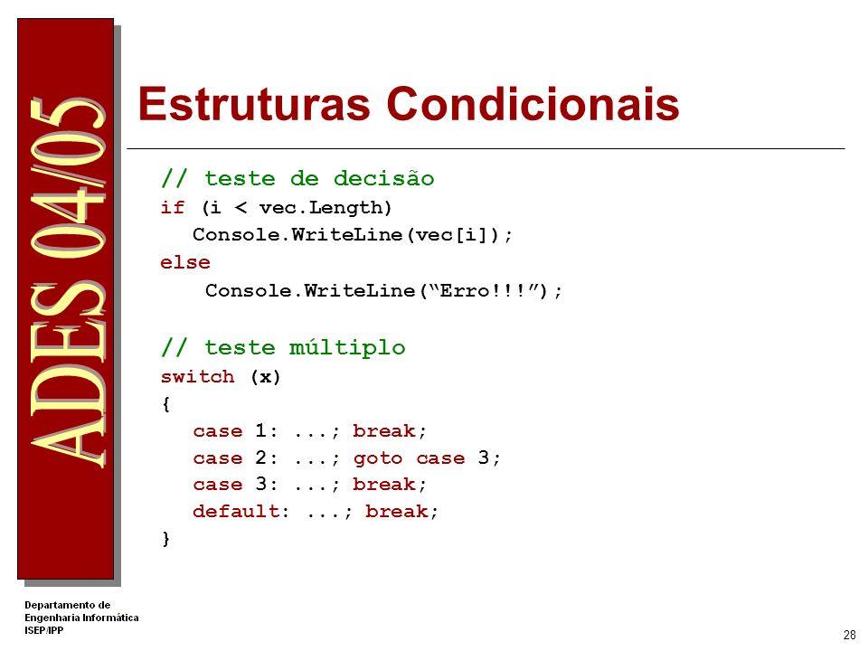 27 Ciclos // repetição n vezes for (int x = 0; i < vec.Length; i++) Console.WriteLine(vec[i]); // repetição condicional int i = 0; while (i < vec.Leng