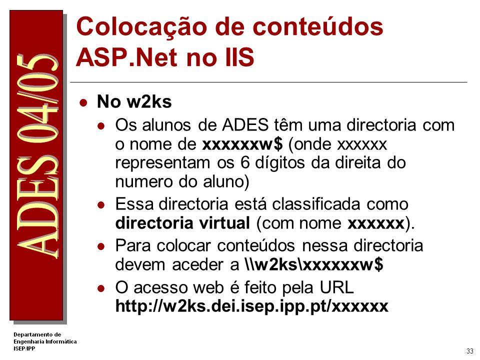 32 Colocação de conteúdos ASP.net no IIS Num servidor IIS local Aceder a c:\inetpub\wwwroot Criar uma directoria para colocar as páginas do site Class