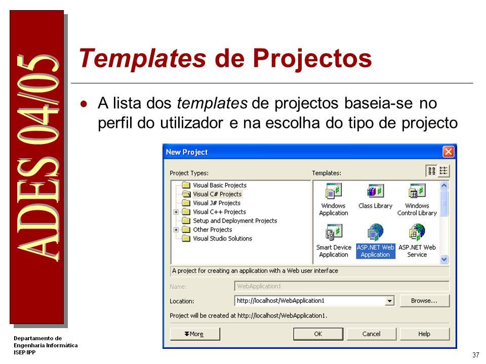 36 Visual Studio.NET Um só IDE ( Integrated Development Environment ) para múltiplas linguagens e múltiplos tipos de projectos Múltiplas linguagens nu